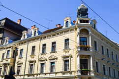 Old  yellow building in Zagreb, Croatia. Royalty Free Stock Images