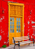 Old yellow colored door Royalty Free Stock Images