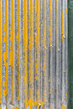Old yellow corrugated iron background Stock Photography