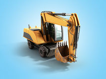 Old yellow excavator 3d ewrnder on blue background Royalty Free Stock Photo