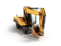 Old yellow excavator 3d ewrnder isolated on white background. Old yellow excavator 3d ewrnder isolated on white Royalty Free Stock Photo
