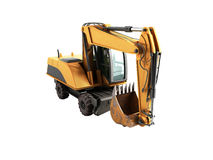 Old yellow excavator 3d ewrnder no shadow. Old yellow excavator 3d ewrnder no Stock Photo