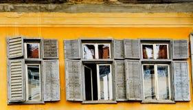 Old yellow facade in Sibiu Romania Royalty Free Stock Image