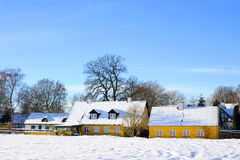 Old yellow farm danish winter Stock Images