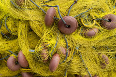 Old yellow fishing nets Royalty Free Stock Photos