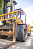 Old yellow forklift Royalty Free Stock Images