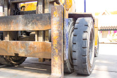 Old yellow forklift Stock Image