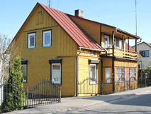 Old yellow home, Lithuania Royalty Free Stock Photo