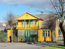 Old yellow home, Lithuania Royalty Free Stock Images