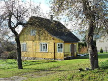 Old yellow home, Lithuania Royalty Free Stock Photos