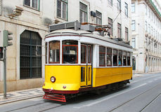 Old yellow Lisbon tram, Portugal Stock Images