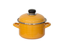 Old yellow metal cooking pot Royalty Free Stock Photography