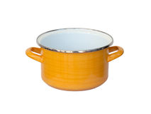 Old yellow metal cooking pot Stock Image