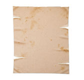 Old yellow paper isolated, clipping path. Royalty Free Stock Photos