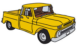 Old yellow pick-up. Old small truck, vector illustration, hand drawing Vector Illustration