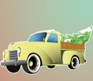 Old yellow pickup with christmass tree vector illustration