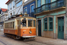Old yellow Porto tramway Stock Images