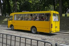 Free Old Yellow Public Bus On One Of The Street In Lviv, Ukraine Royalty Free Stock Photo - 150239415