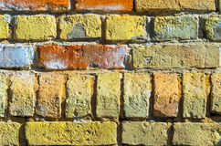 Old Yellow and Red Brick Wall Texture royalty free stock photography