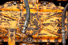 Old yellow rusty machine Royalty Free Stock Photos