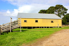 Old yellow shearing shed Stock Image