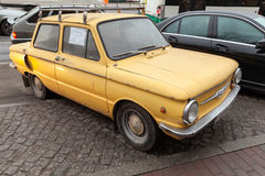 Old yellow soviet Zaz 968 car Stock Image