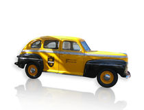 Old Yellow Taxi Cab. Vintage yellow taxi cab isolated with reflection Stock Images