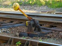 Old yellow train rail shift Stock Photo