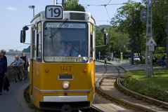 Old yellow tram of Budapest, Hungary Stock Photos