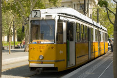Old yellow tram of Budapest, Hungary Royalty Free Stock Photo