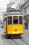 Old yellow tram in Lisbon Royalty Free Stock Image