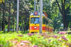 Serbia, Belgrade Tram`s. Old Yellow Tram royalty free stock photos