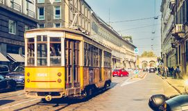 Old yellow tram of the public transport company of the city of M Royalty Free Stock Photography