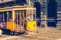 Old yellow tram of the public transport company of the city of M Stock Images
