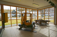 An old yellow trolley in Flamsbana museum. Flam, Norway. May 05, 2013 Stock Photography