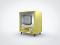 Old yellow TV perspective view. Perspective view of an old vintage retro yellow television Stock Images