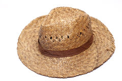 Old Yellow wicker straw hat Royalty Free Stock Photography