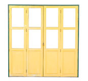 Old yellow wooden door isolated on white background Stock Photos