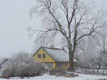 Old home in winter, Lithuania Stock Images