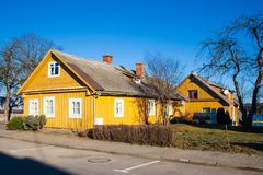 Old yellow wooden house. In Trakai, Vilnius, Lithuania royalty free stock images