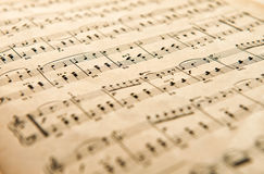 Old yellowed aged music score Royalty Free Stock Images