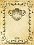 Old yellowed paper background with vintage frame. Aged dirty and yellowed paper background with decorative vintage border. Grunge and vintage paper vector illustration