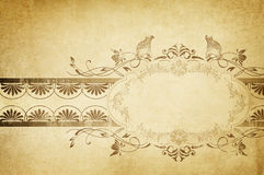 Old yellowed paper background with vintage frame. Grunge and vin Royalty Free Stock Image
