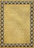 Old yellowed paper with border Stock Image