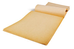 Old,yellowed paper. Faded, yellowed sheets of old album for drawing on a white background Royalty Free Stock Photo