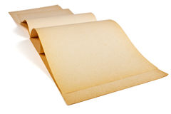 Old,yellowed paper. Faded, yellowed sheets of old album for drawing on a white background Royalty Free Stock Images