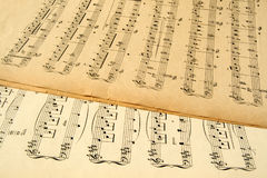 Old yellowing music sheets. Royalty Free Stock Photos