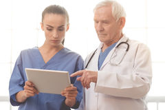 Old and young doctors. Handsome old doctor in white medical coat and beautiful young female doctor in blue scrubs are using a digital tablet Stock Images