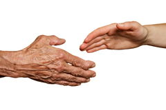 Old and young hand. Isolated on white - two generations concept Stock Image