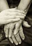 Old and young hands. Hands of the old woman - 84 years covered with young hands royalty free stock images